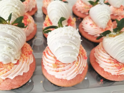 Strawberry Crunch Cupcakes topped with Dipped Strawberries