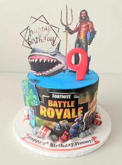 Fortnite and Aqua Man Birthday Cake