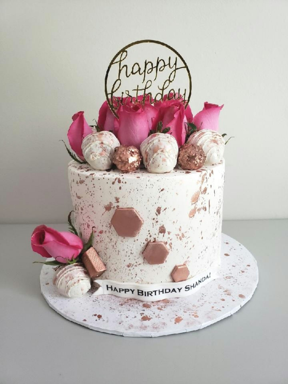 Rose Gold Elegance Birthday Cake