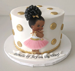 Afro Baby Princess Shower Cake