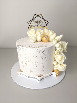 White and Gold Elegance Cake