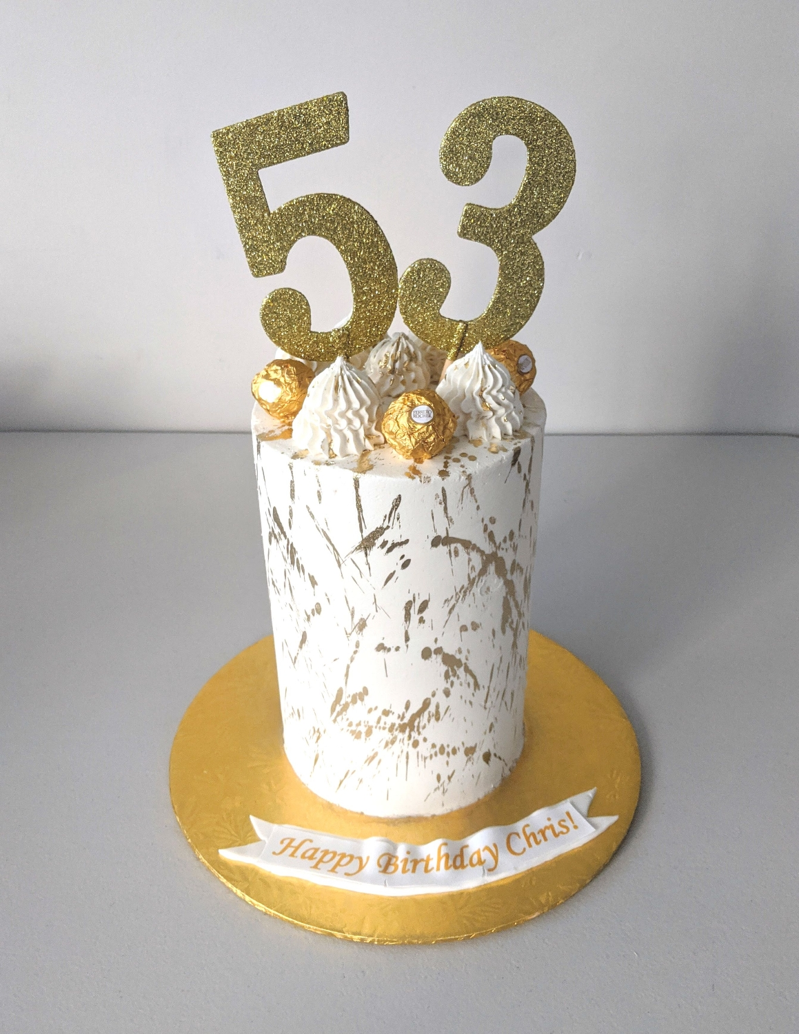 Gold Splatter Barrel Cake