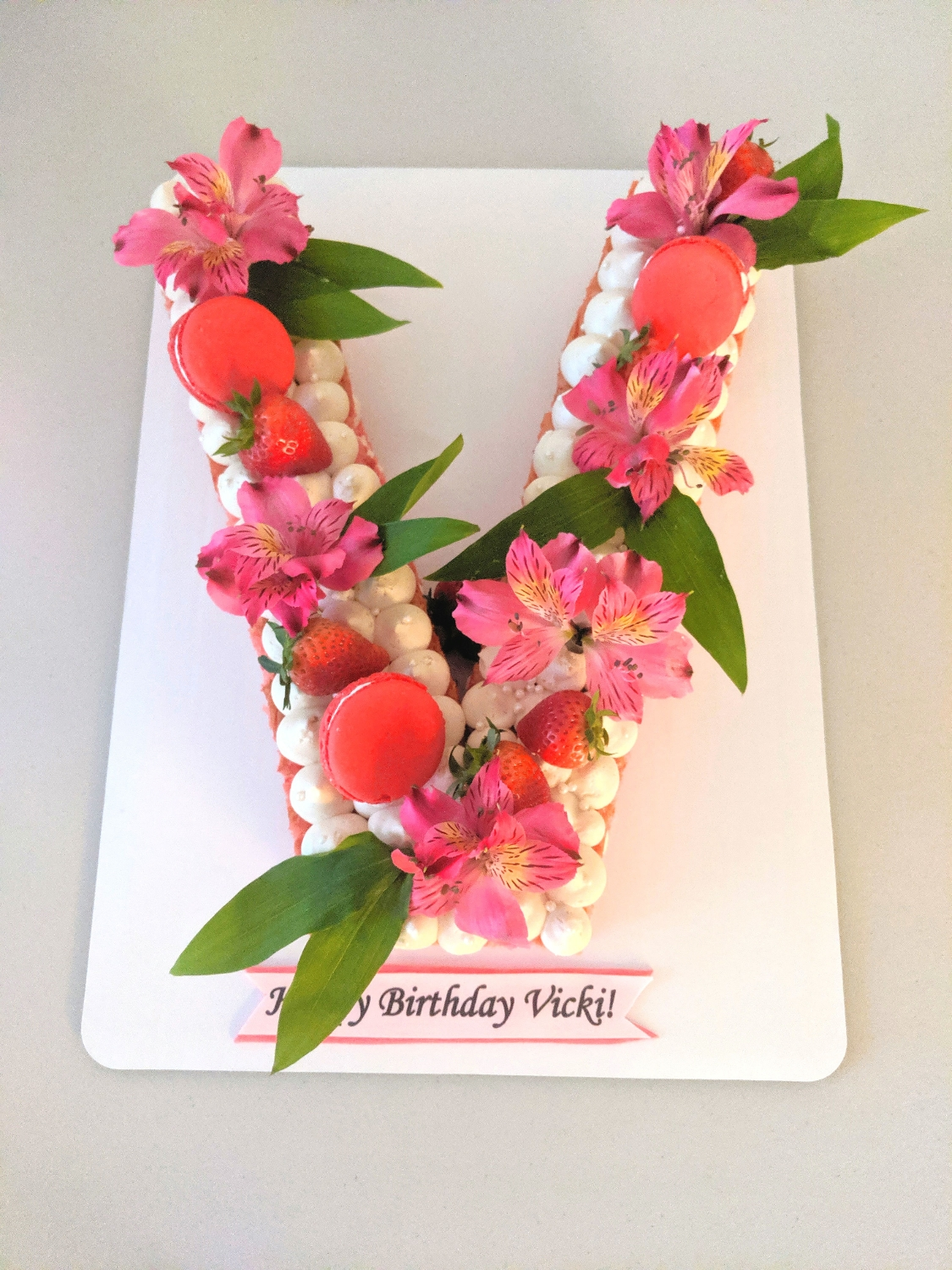 Lettered Macaroon & Floral Cake