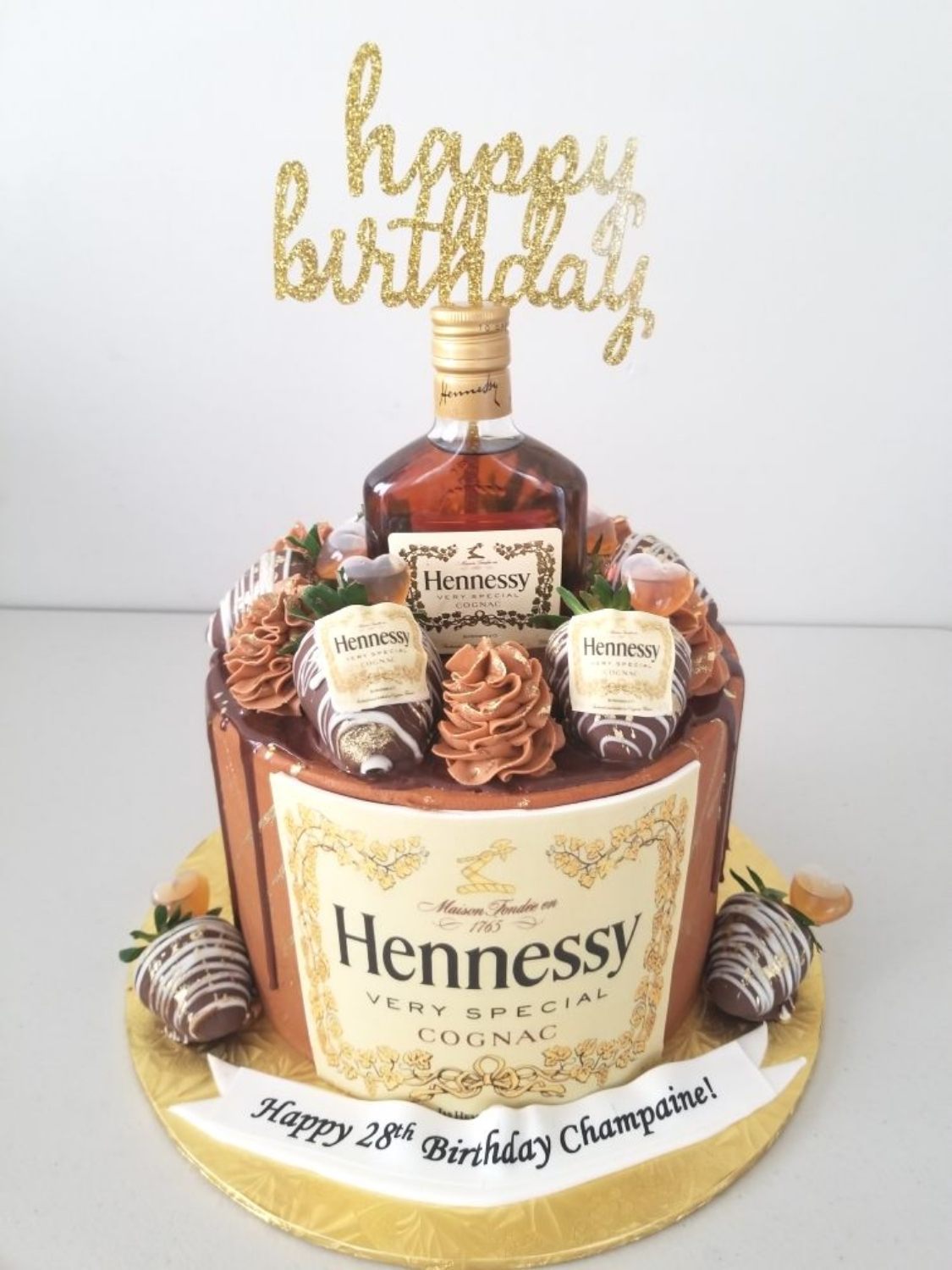 Hennessy, Chocolate, & Rose Gold Cake
