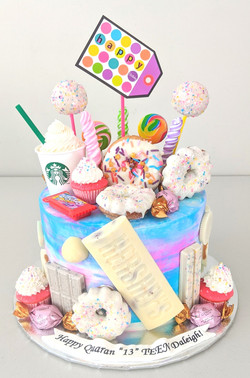 Candy and Starbucks Birthday Cake