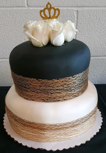 Black and Gold Tiered Cake