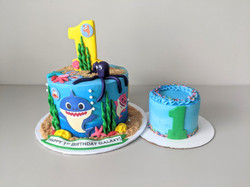 Baby Shark Birthday Cake and Smash Cake