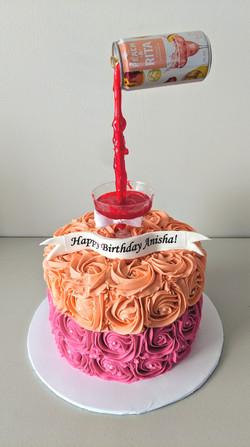 Peach-a-Rita Gravity Rosette Cake
