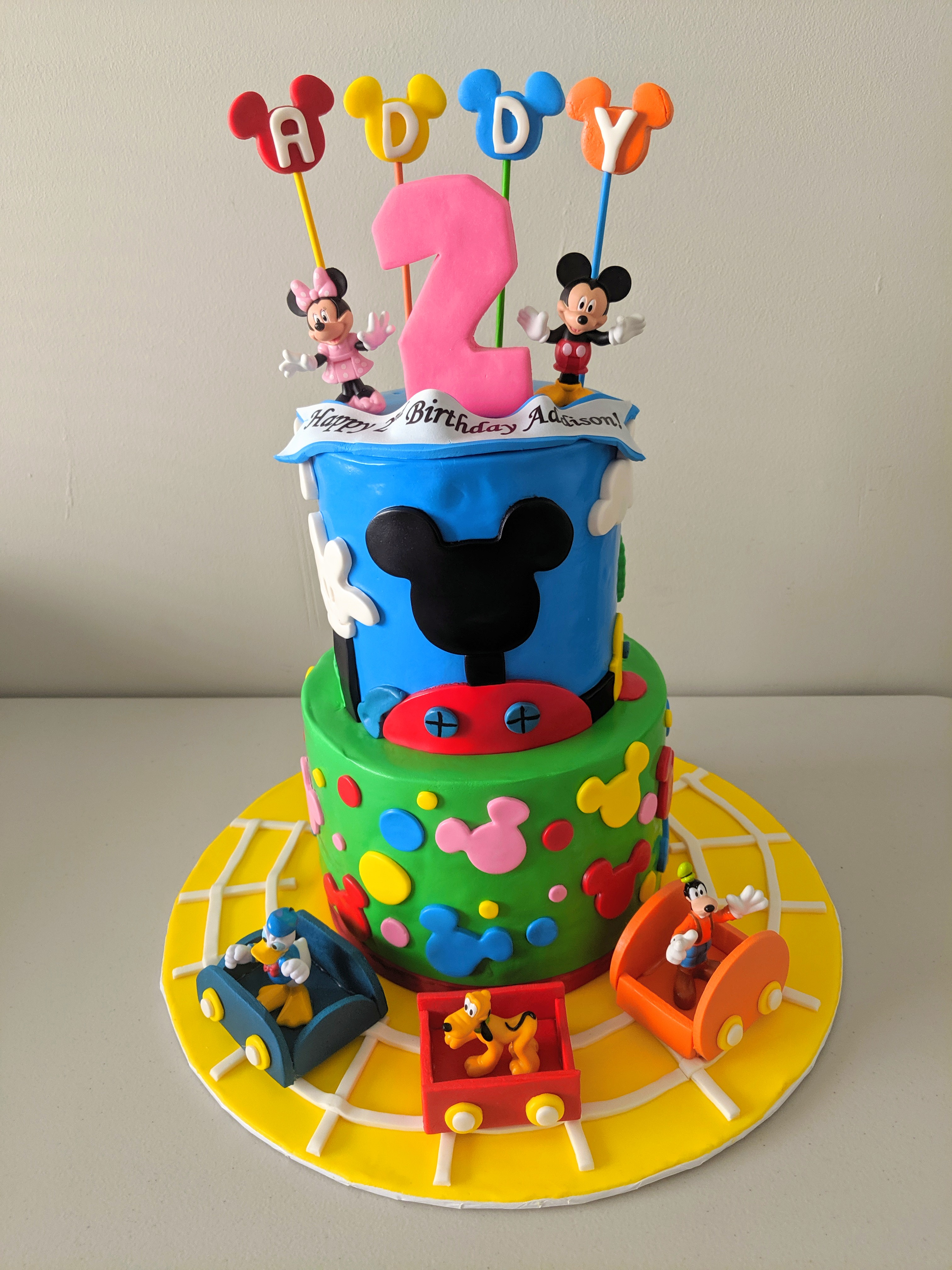 Mickey and Trains Cake