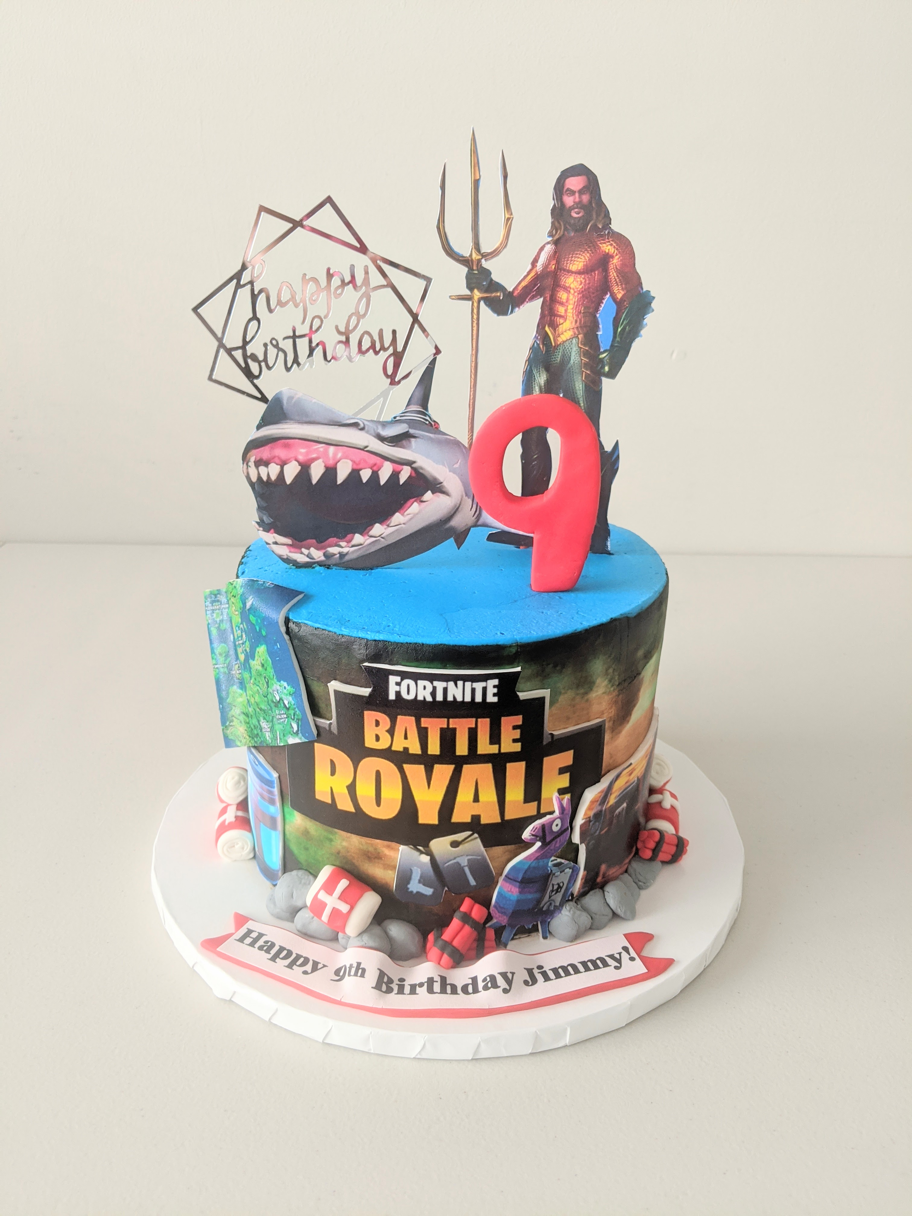 Fortnite and Aqua Man Birthday Cake