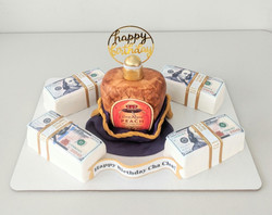 Peach Crown and Money Stacks Cake