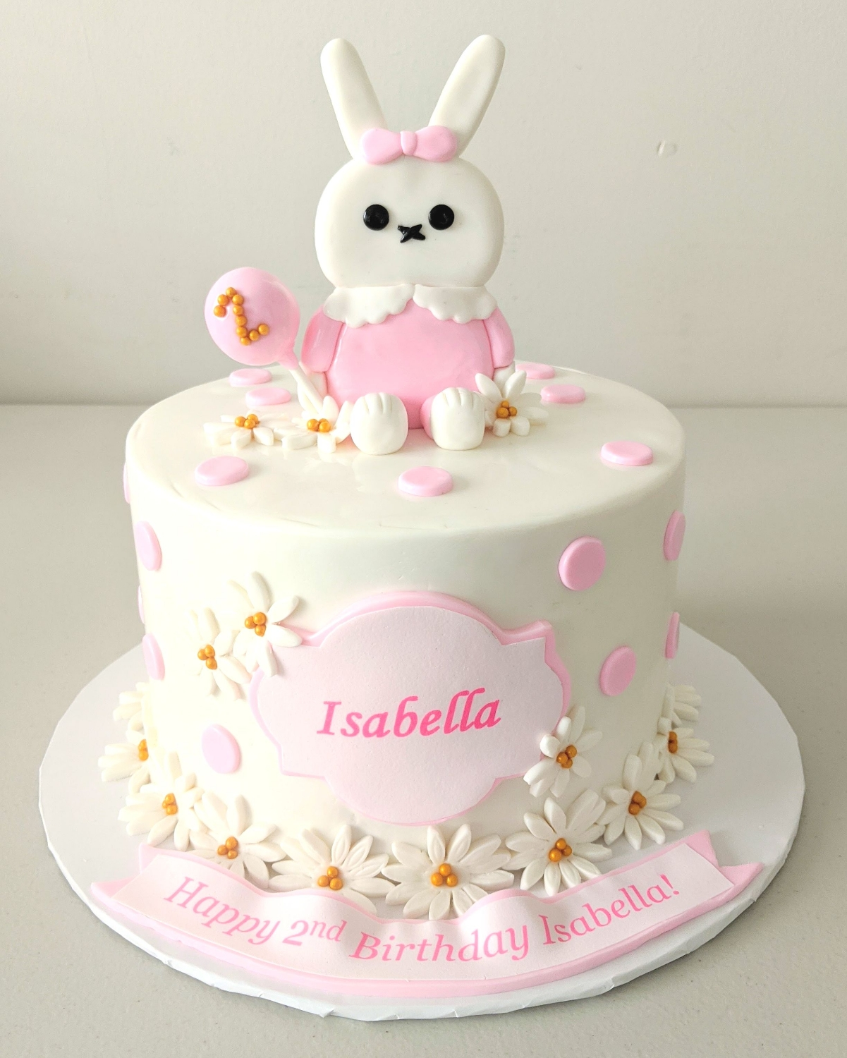 Bunny and Petals Birthday Cake