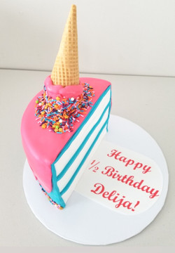 Half Birthday Ice Cream Cake