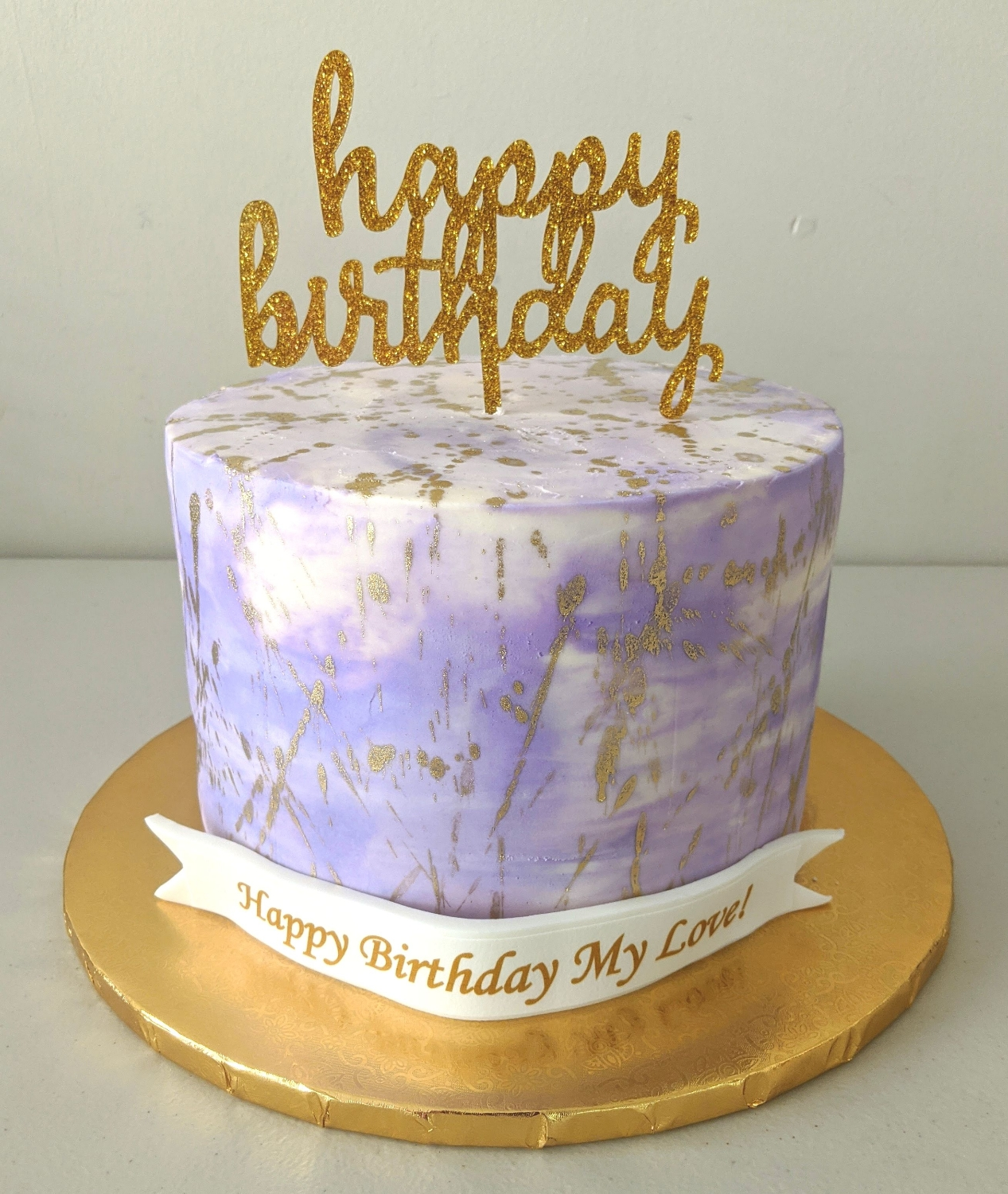 Purple with Gold Splatter Birthday Cake