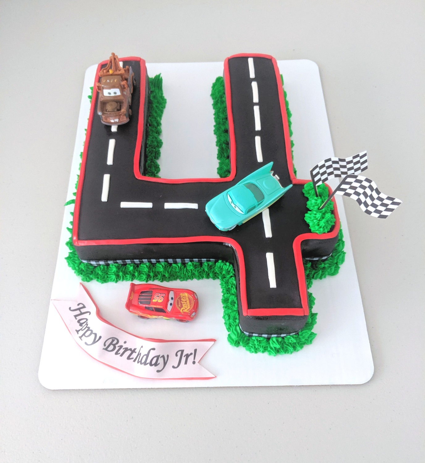 Racetrack themed 4th Birthday