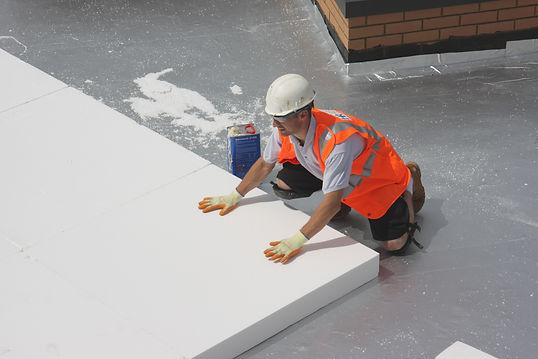Jablite insulation boards being installed