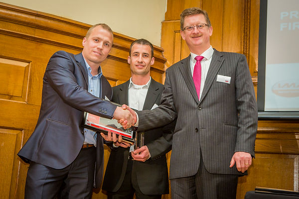 David & Jon Hammersley collecting award from Icopal MD Matthew Scoffield