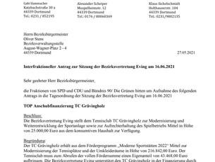 SPD, CDU und Bündnis90/Die Grünen beantragen gemeinsam 25.000 € für den TC Grävingholz
