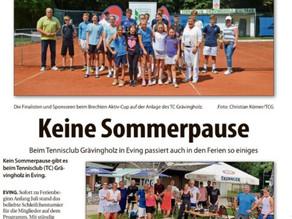 Der Nordanzeiger fasst alle Sommeraktivitäten des TC Grävingholz in einem großen Artikel zusammen.