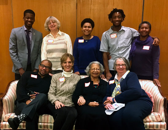 THE PARTICIPANTS AND ORGANIZERS OF THE CIVIL RIGHTS DISCUSSION AT KENDAL. BACK ROW: JABIR MCKNIGHT, SUSANNA DAVISON, VERONICA CARR, ERIC HILLIARD, AND BETTY L. MERRILL. FRONT ROW: PHILIP J. MERRILL, MARILYN BUTTON, JEANETTE PAGE, AND BETTY WARNER. PHOTO COURTESY OF MARILYN BUTTON.