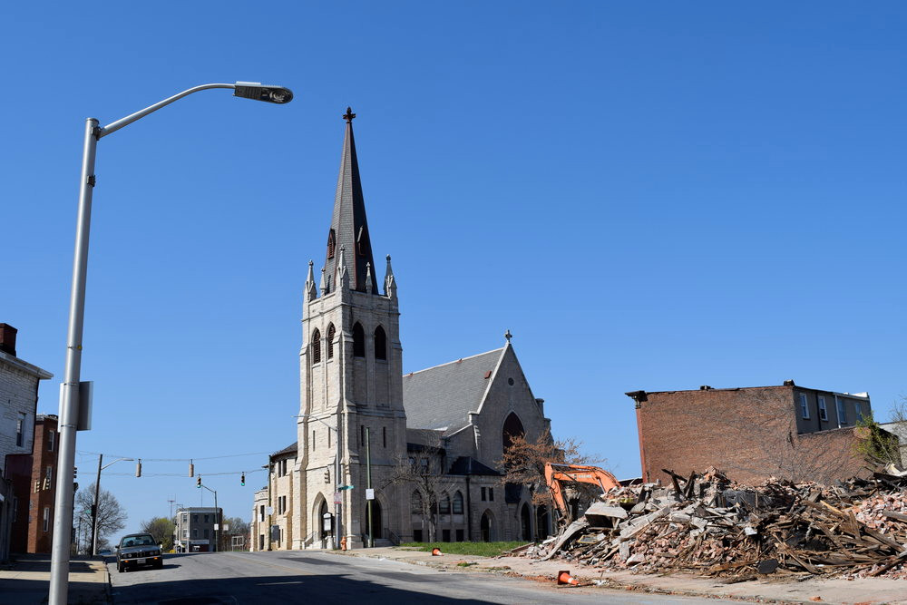 MACEDONIA BAPTIST CHURCH, AT THE CORNER OF FREMONT AVENUE AND LAFAYETTE AVENUE IN OLD WEST BALTIMORE. PHOTO COURTESY OF NANNY JACK & CO.