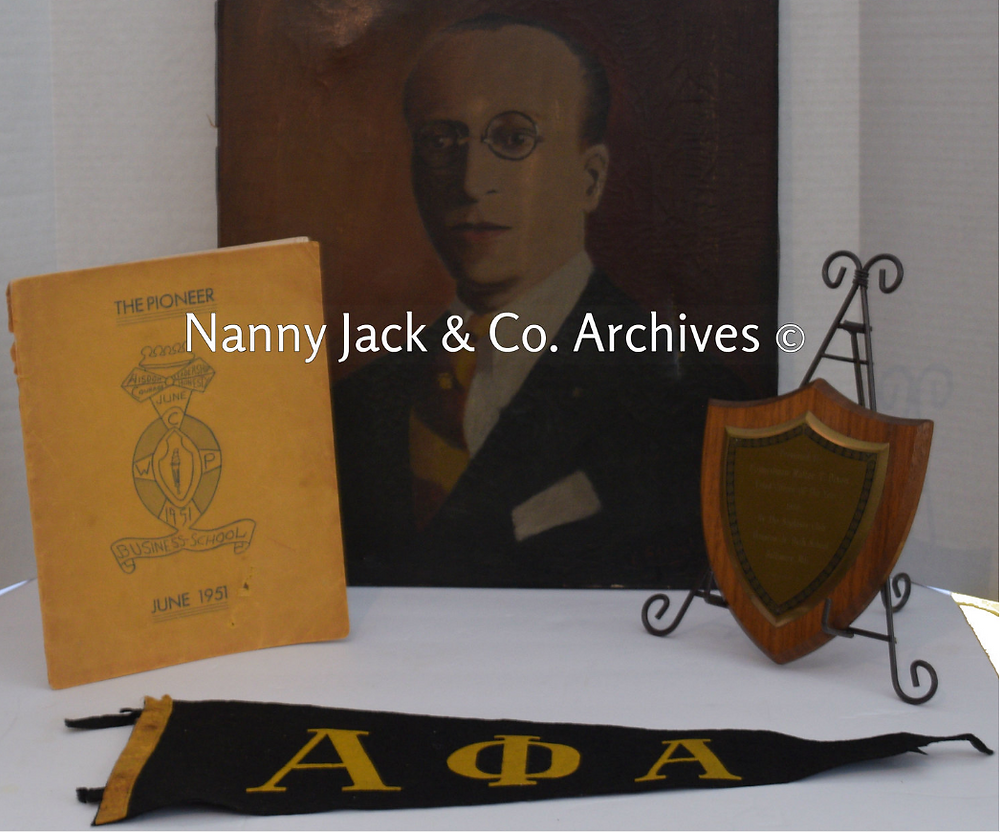 A PORTRAIT OF WALTER T. DIXON, A JUNE 1951 YEARBOOK FROM THE CORTEZ W. PETERS BUSINESS SCHOOL, WHERE DIXON SERVED AS DEAN, A PLAQUE TO WALTER DIXON FROM CHARLES HAMILTON HOUSTON JUNIOR HIGH SCHOOL #181, AND AN ALPHA PHI ALPHA PENNANT. ARTIFACTS COURTESY OF NANNY JACK & CO. ARCHIVES.