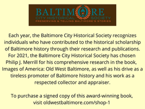 Images of America: Old West Baltimore & Philip J. Merrill Honored by Baltimore City Hist Society