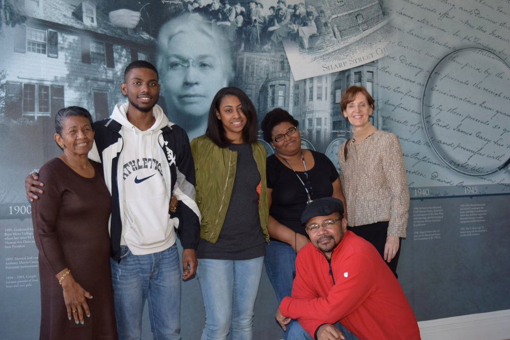 FROM LEFT TO RIGHT: BETTY L. MERRILL, NAFEECE BEEKS, TALIA BEST, BAHIJAH HASAN, DR. MARILYN BUTTON, AND PHILIP J. MERRILL AT THE LILLIE CARROLL JACKSON CIVIL RIGHTS MUSEUM. PHOTO COURTESY OF NANNY JACK & CO.
