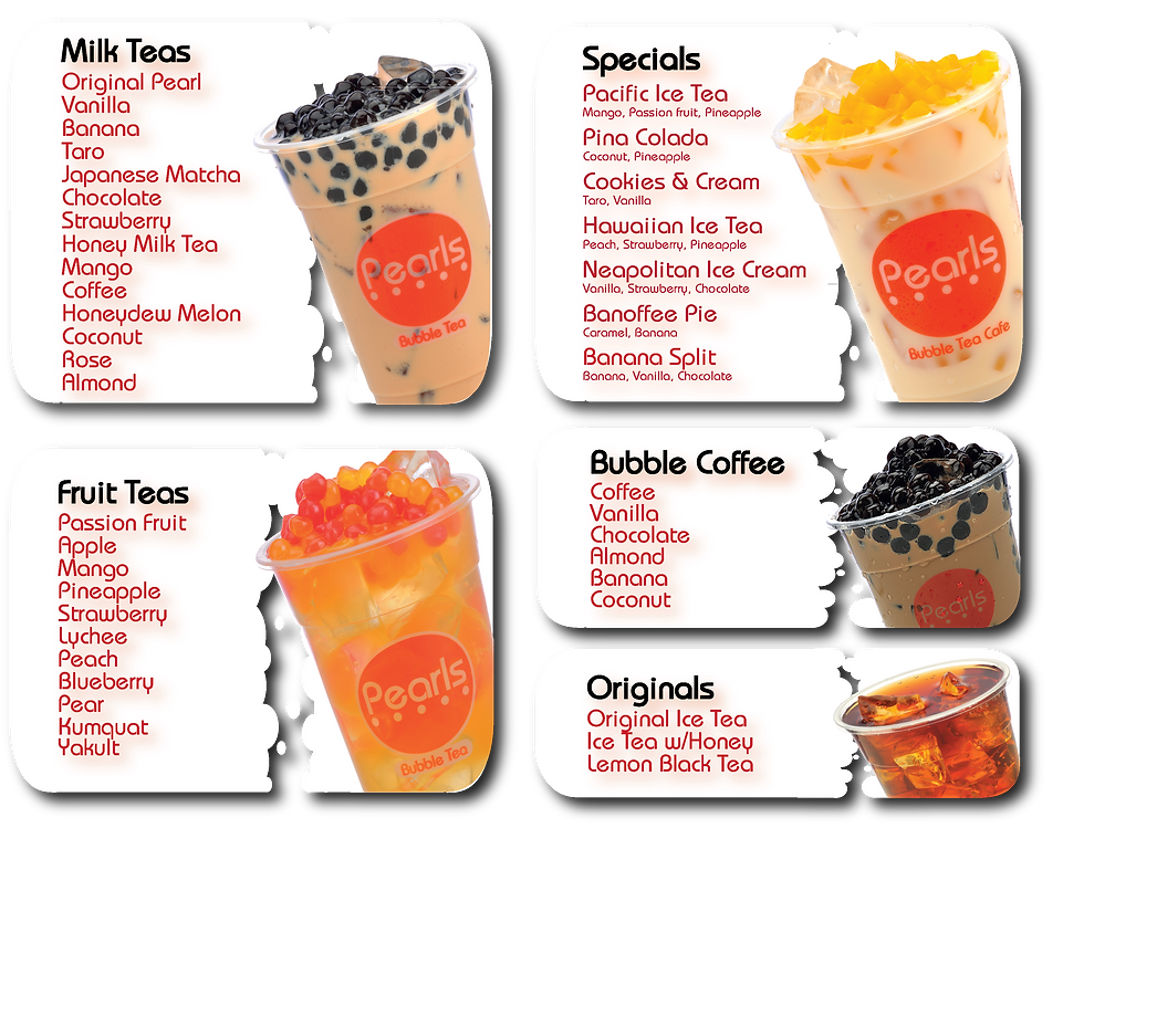 Pearls bubble tea brighton menu