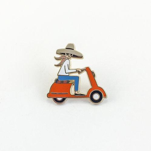 Scooter Girl Enamel Pin