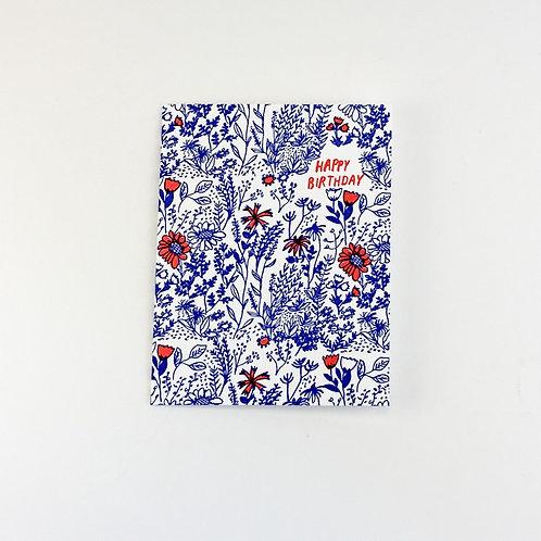 """Happy Birthday"" Blue Florals Card"
