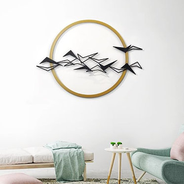 skyline wall art gold and black metal