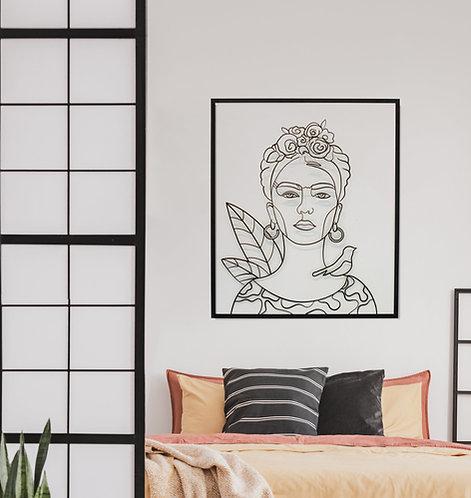 תמונת אומנות ממתכת של האמנית פרידה קאלו בפרשנות סטודיו גליפס