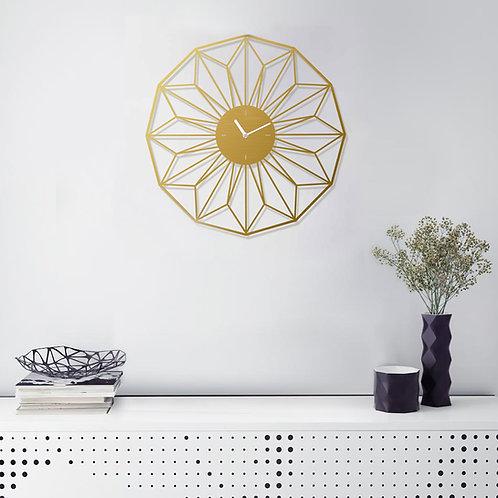 שעון ממתכת בצבע זהב בחיתוך לייזר במראה פרח גאומטרי | שעונים