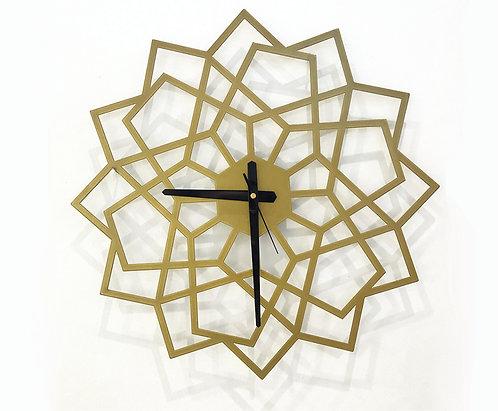 שעון ממתכת בטכניקת חיתוך לייזר בעיצוב גאומטרי בצבע זהב | שעונים