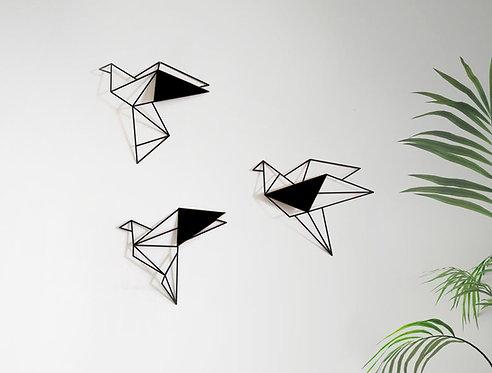 set of 3 metal birds metal | wall art