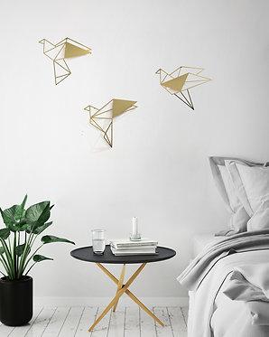 set of 3 metal wall art golden bird | wall art