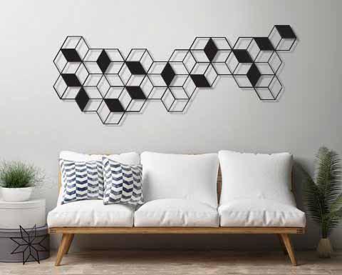 עבודת אומנות לסלון גאומטרית ומודרנית | יצירות אמנות לקיר