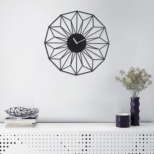 שעון ממתכת בחיתוך לייזר במראה פרח גאומטרי בצבע שחור | שעונים