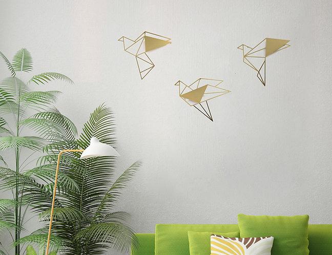 ציפורי תלת מימד בצבע זהב | עיצוב הבית | WALL ART