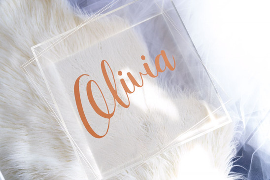Clear Acrylic Box - Rose Gold Name