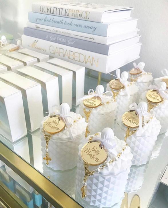 Mini White Geo Candles
