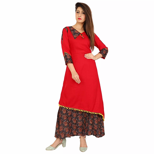 Unique Red Rayon Printed Ankle Length Kurti