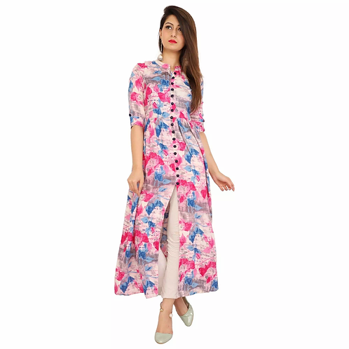 Unique Multi-Colored Rayon Printed Ankle Length Kurti