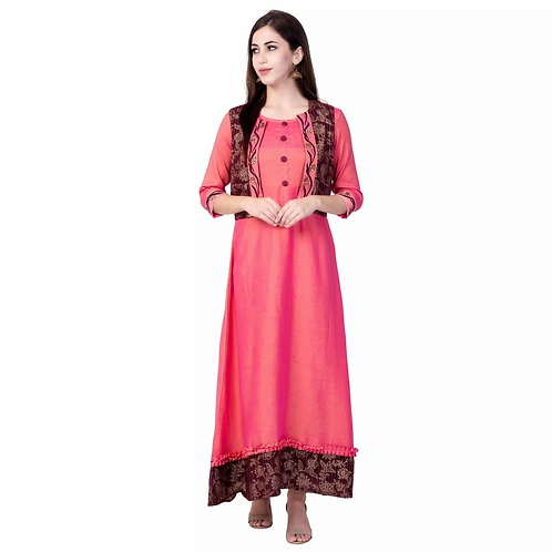 Unique Light Pink Rayon Printed Ankle Length Kurti