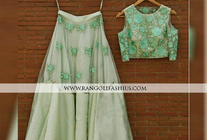 Embroidery Designer Net & Satin Lehenga (Semi-Stitch)