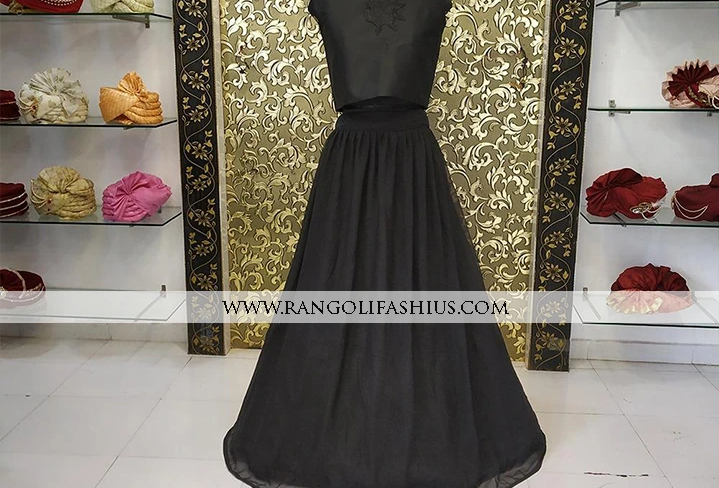 Black Pleated lehenga