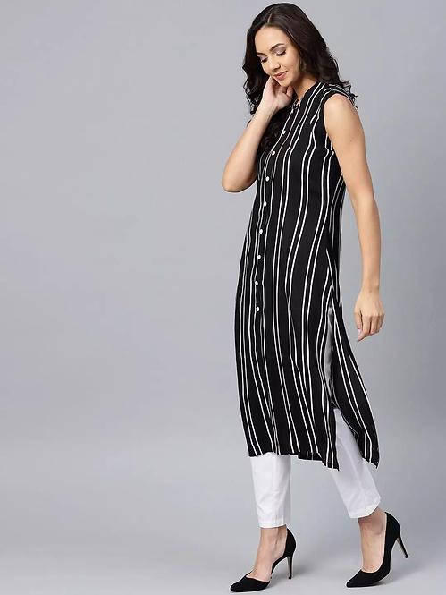 Adorable Crepe Striped Calf Length Sleeveless Kurti