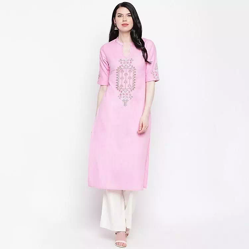 Beautiful Calf Length Cotton Embroidered Straight Kurti With 3/4th Sleeves
