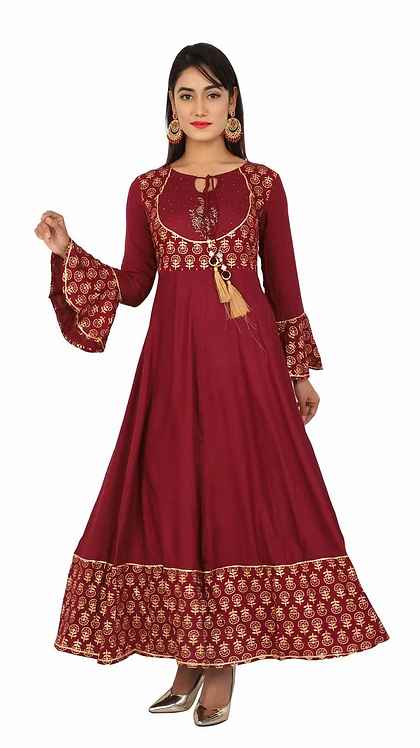 Unique Maroon Rayon Printed Ankle Length Kurti